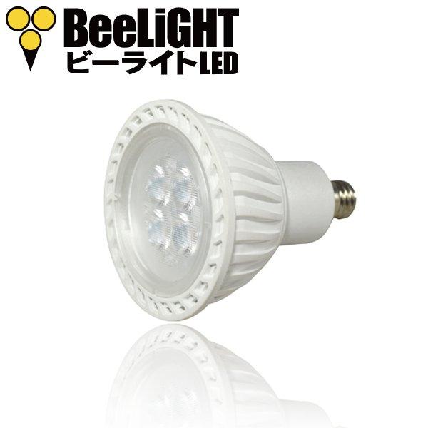 BeeLIGHTのLED電球「BH-0511M-WH-WW-25」の商品画像。電球のスペック:口金サイズE11、消費電力5W、JDRφ50mm、ケルビン数2700k(電球色)、中角25°、ハロゲンランプ40W相当、ボディカラー白。