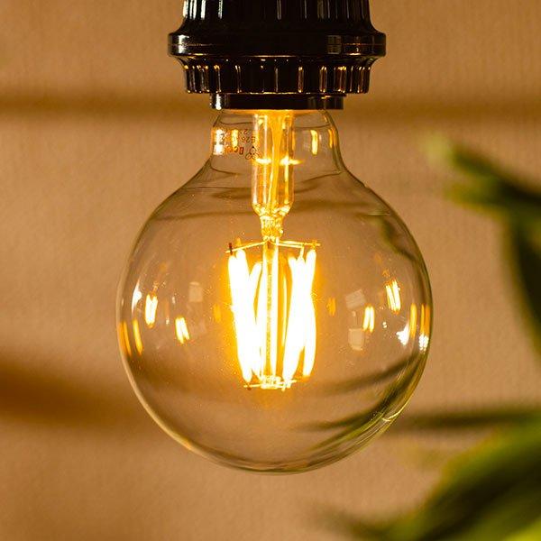 画像3: LED電球 E26 フィラメント電球 エジソン電球 エジソン球 ボール形 4W 360lm 濃い電球色(2100K) 白熱電球30W相当 クリアタイプ 1年保証