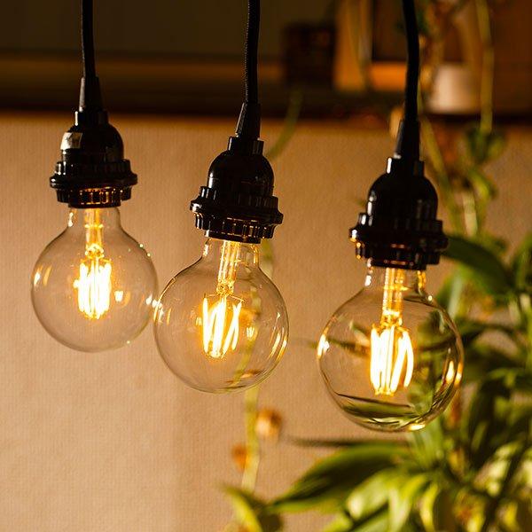 画像4: LED電球 E26 フィラメント電球 エジソン電球 エジソン球 ボール形 4W 360lm 濃い電球色(2100K) 白熱電球30W相当 クリアタイプ 1年保証