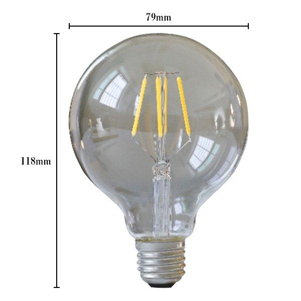 画像5: LED電球 E26 フィラメント電球 エジソン電球 エジソン球 ボール形 4W 360lm 濃い電球色(2100K) 白熱電球30W相当 クリアタイプ 1年保証