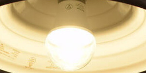 BeeLIGHTのLED電球「BD-0726-IP65-Clear-WW」の点灯写真。
