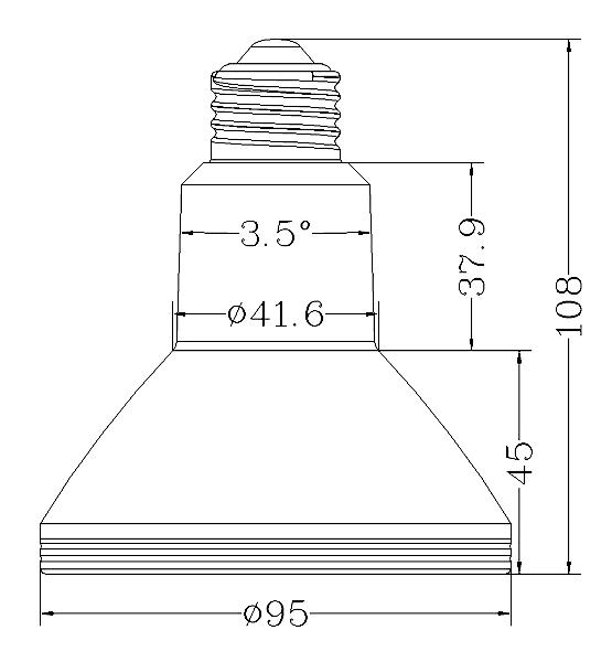 BeeLIGHTのLED電球「BH-1226RC-WH-WW-15-60」の姿図。