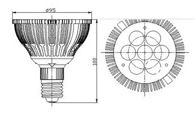 BeeLIGHTのLED電球「BH-0826H5Ra95」の姿図。