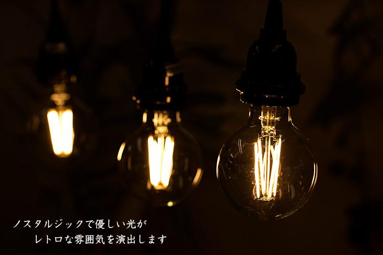 LED電球「BD-0826G80」の実際の点灯イメージ。