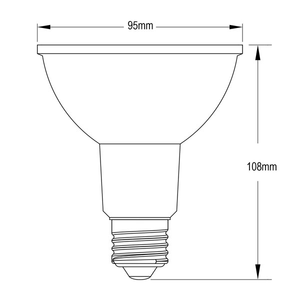 BeeLIGHTのLED電球「BH-1226NC-BK-WW-Ra92」の姿図。