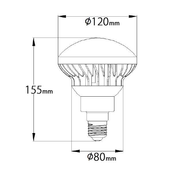 BeeLIGHTのLED電球「BH-1526B-BK-WW-Ra92」の姿図。