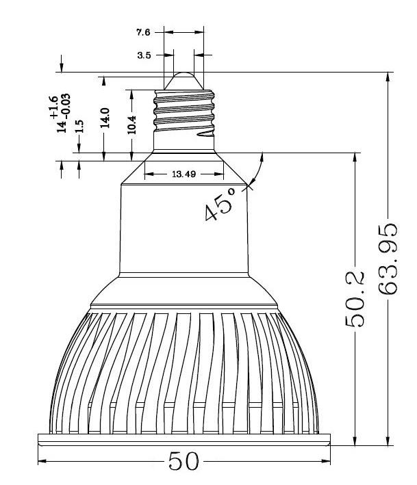 BeeLIGHTのLED電球「BH-0711NC-WH-WW-Ra96-3000」の姿図