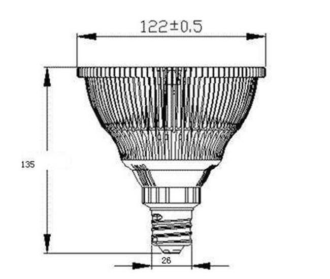 BeeLIGHTのLED電球「BH-2026H2Ra94」の姿図。